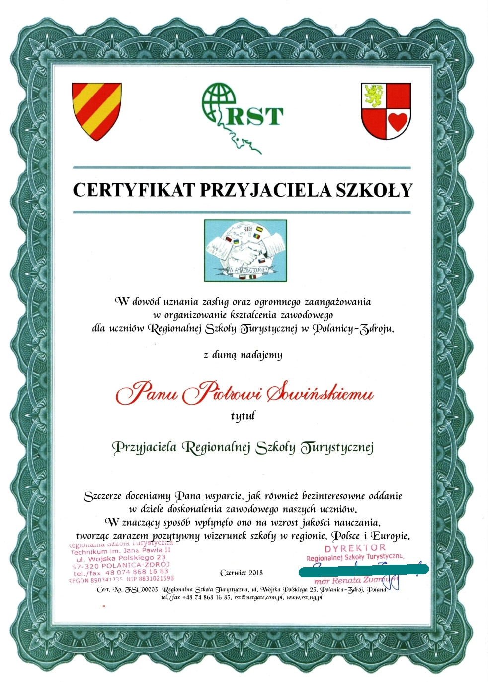 Friend of School 2018 Pan Piotr Sowiński 1MB